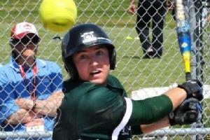 Softball Player Mid-Swing